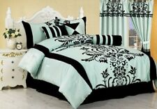 7-Piece Aqua with Black Flocking Floral Comforter Set Bed-in-a-Bag Full/Double