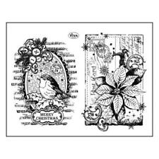 Viva Decor A5 Clear Silicone Stamps Set - Robin & Poinsettia #91