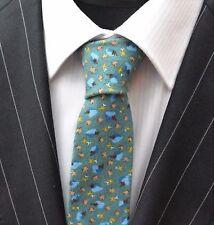 Tie Cravatta SLIM VERDE ACQUA CON BLUE & BROWN Motivo Cotone di alta qualità T6107