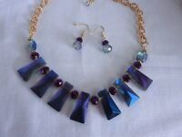 Purple glass crystal Necklace and Earrings Set