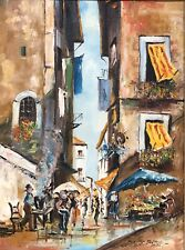 Spanish Street Scene (Bernard Bosman 1911-1981) Original Oil on Canvas Signed