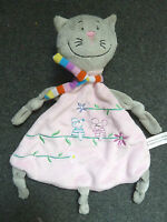 RICHARD LANG CAT COMFORTER SOFT TOY PINK GREY PUSSY CAT BABY BLANKIE DOUDOU