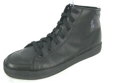 Polo Ralph Lauren Shoes 11.5 Mens Black Leather High Top Athletic Oxford Pony