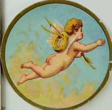 Victorian Round Trade Card Cherub Flying In Clouds Bow & Arrow Gold Ring F75