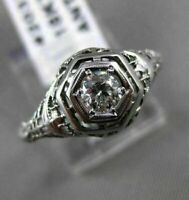 ANTIQUE .40CT OLD MINE DIAMOND 18KT WHITE GOLD 3D FILIGREE ENGAGEMENT RING 20335