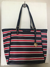 NEW ARRIVAL TOMMY HILFIGER NAVY BLUE RED SHOPPER SATCHEL TOTE BAG PURSE $89 SALE