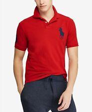 Polo Ralph Lauren Men's Big Pony Custom Slim Fit Mesh Polo (Navy-Red)  S - XXL