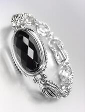 GORGEOUS Faceted Black Onyx Stone Silver Cable Dots Oval Links Bracelet