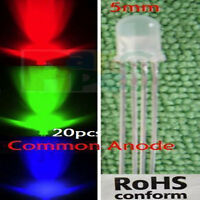 50Pcs LED RGB common cathode 4-PINS F5 5MM Super Bright Bulb Lamp 3V-12V CL4P