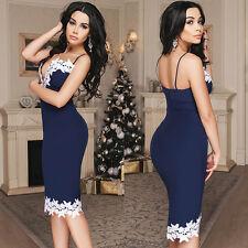 Damen Sommer Spitze Ärmellos Party Abendkleid Cocktail Mini Kleid Clubwear Sexy