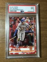 2019 Topps Jeff McNeil #281 Independence Day PSA 9 MINT RC ROOKIE METS /76