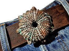 Gürtelschnalle Antik braun grün vintage Ornament Wechselschnalle Buckle 4 cm