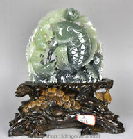 "13 ""Chinois Naturel Naturel Xiu Vert Jade Jadéite Feuille De Lotus Feuille"