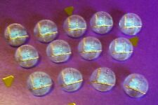 13 vtge.clear glass domed Art Deco buttons/geometric pattern/gold lustred lines