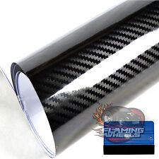 3m x 75cm 3D HQ BLACK HIGH GLOSS carbon fibre wrap vinyl car sticker + SQUEEGEE