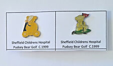 Set of 2 Charity Bear Golf Metal Enamel Pin Badges