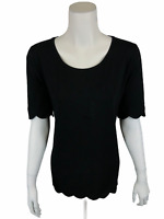 Isaac Mizrahi Women's Elbow Sleeve Scallop Hem Knit Top Solid Black Medium Size
