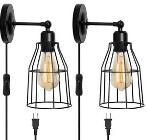 2 Pack HAITRAL Swing Arm Plug in Wall Sconce, Industrial Wire Cage Wall Light