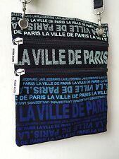 "Robin-Ruth ""PARIS"" Crossbody/Tote Bag, Black Canvas, Blue/Multicolored Print"