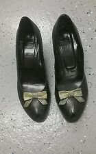 La Femme Publique Black Peeptoe heels with bow vtg 40/ 50s inspired  sz 38.5