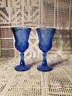Vintage Avon Fostoria Cobalt Blue George and Martha Washington Goblet Set 1976