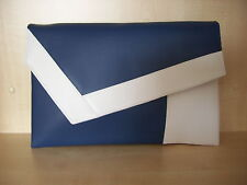 OVER SIZED WHITE& ROYAL BLUE asymmetrical clutch bag. Made in the UK