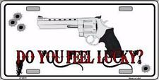"Do You Feel Lucky Gun Humor Novelty 6"" x 12"" Metal License Plate Sign"