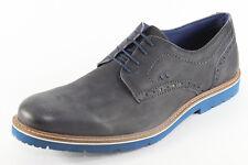 Manitu 641375, schicke Schnürschuhe aus grauem Leder, Herrenschuhe *Übergröße*