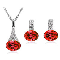 Diamante Crystal Red Jewellery Set of Stud Earrings and Necklace Pendant S390