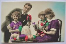 1920s France Happy Easter COLOR PC Family Eggs Girls