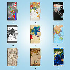World Map Flip Wallet Case Cover for HTC 10 One M7 M8 M9 008