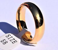 925 Sterling Silver Gold Plated Classic Wedding Ring Band 6mm Mens/Ladies