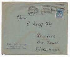 1919 NETHERLANDS Cover AMSTERDAM To HERSFELD GERMANY SG180 Böttcher SLOGAN