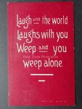 Verse & Poem LAUGH and THE WORLD LAUGHS WITH YOU... - c1907 Old Postcard