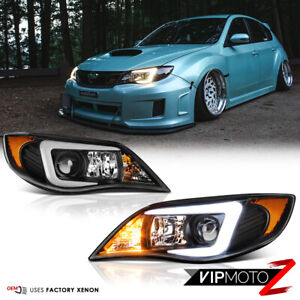 """C-Shape OLED Tube"" Headlights Lamps For 2008-2014 Subaru WRX STI Xenon HID D2S"