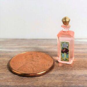 Dollhouse miniature 1:12 Beauty Vintage Label Bottle of Rose Floral Water