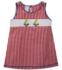 Girls SILLY GOOSE smocked dress 12M NWT sailboat red nautical July 4th 6-12