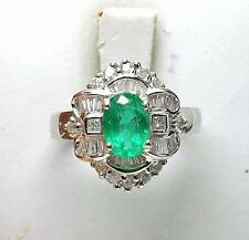 Estate 18k White Gold 70pt. Diamond 1.38ct Natural Emerald Ladies cocktail Ring