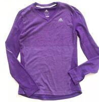 Adidas Running Climacool Athletic L/S Shirt Top Purple XS V Neck Women