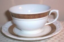 Leart China White with Copper Band & Snowflake Design Cup & Saucer~Made N Brazil