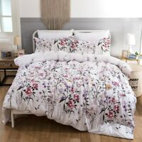 Soft Microfiber Floral Duvet Cover Set King Queen Size Bedding Set US