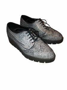 Shellys London Cracked Wingtip Oxford Shoes Womens 38 7 Chunky Platform Gray