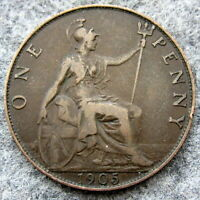 GREAT BRITAIN EDWARD VII 1905 ONE PENNY BRONZE