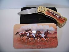 Collectors Lockback Knife with tin case Horse Pocket Wildlife Gift