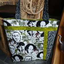 Three Stooges Tote Bag, Traveling Tote, Inside Pockets, Quilted Tote Bag, Green