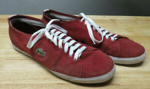 Mens Lacoste Canvas Shoes Casual Sneakers Size 12 Red