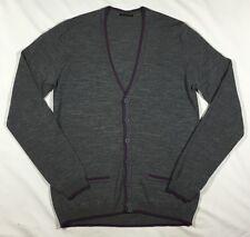 EUC Men's Sisley Gray and Purple Wool Blend Cardigan Sweater-Size L
