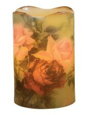 Victorian Trading Co Old Fashioned Lush Roses Flameless Battery Op Candle