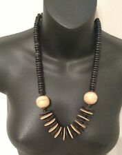 Handmade Necklace wooden Rings Black Nude Khaki Beads one of a kind vintage 70s