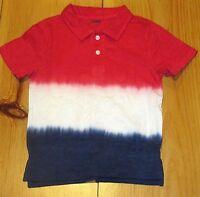 NWT Gymboree Boys Shirt Red White Blue Americana Patriotic Collar 4th July 2T 3T